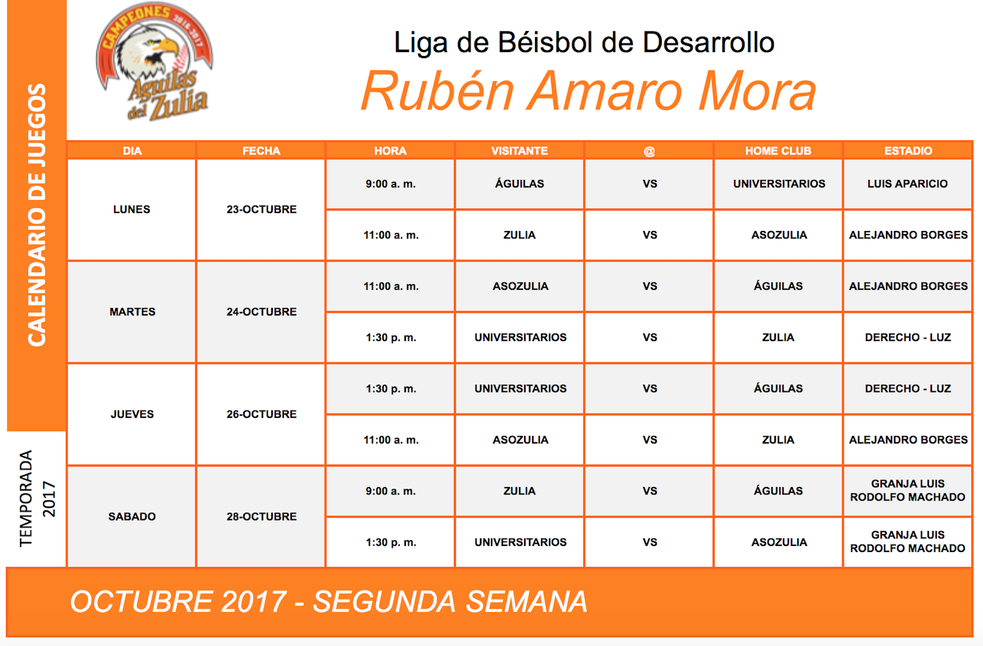 CalendarioLigaBeisbolDesarrollo2017